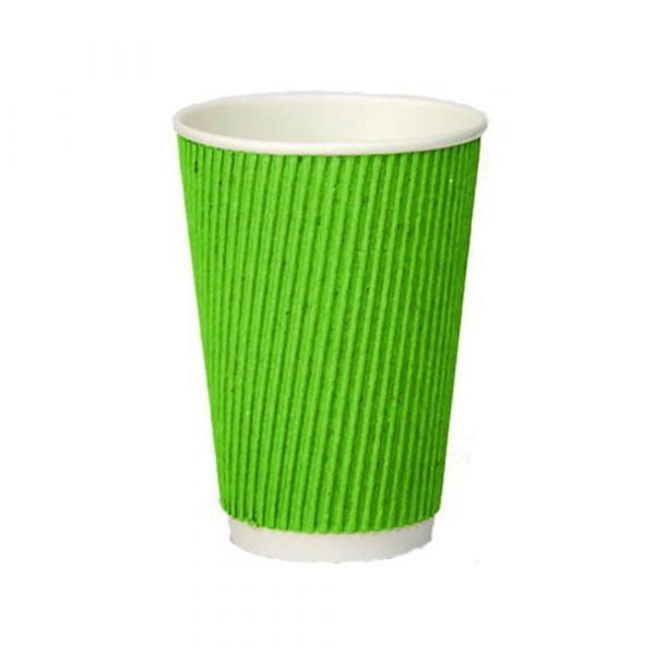 Стакан гофрированный 500мл.(16oz) (25/20/500) (кв90) зеленый