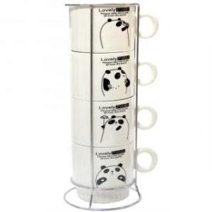 """Набор чашек на подставке """"Панда"""", 250 мл (4шт)"""