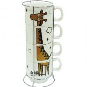 "Набор чашек на подставке ""Жираф"", 150мл (4шт)"